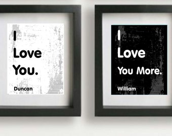 Personalized couples print, couples anniversary gift, wall decor, i love you, i love you more