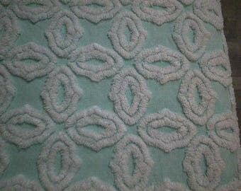 "Hofmann AQUA with White SNOWFLAKES Vintage Chenille Bedspread Fabric - 19"" X 24"""