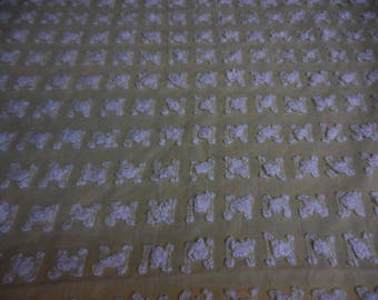 "Rare Vantona YELLOW with WHITE ROSEBUDS Vintage Chenille Bedspread Fabric - Made in Great Britain - 24"" X 24"""