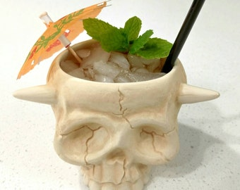NumbSkull Tiki Mug in Matte Bone White w/ Glossy Horns & Teeth by Kahuna Kevin / PopTiki of Colorado. Made in the USA.