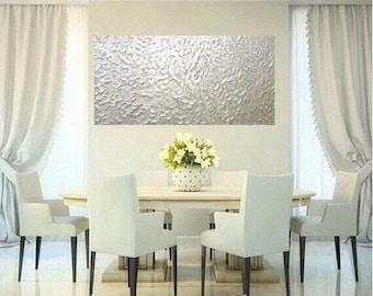 "XLarge White Pearl Oil Landscape Abstract Original 48"" palette knife oil  impasto oil painting by Nicolette Vaughan Horner"