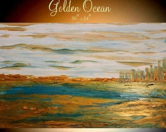 """SALE ORIGINAL 36""""Abstract Acrylic gallery canvas-Contemporary Modern """"Golden Ocean""""painting by Nicolette Vaughan Horner"""