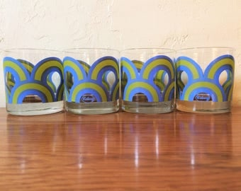 Vintage Colony Old Fashioned Glasses Set Of 4, Blue Green Cocktail Glasses, Signed 1960s / 1970s Op Art Swirl Lowball Rocks Barware