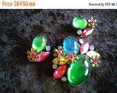 Now On Sale Vintage Rhinestone Brooch Earring Set ** Vintage Demi Parure ** 1950's Old Hollywood Collectible Mad Men Mod Era Jewelry