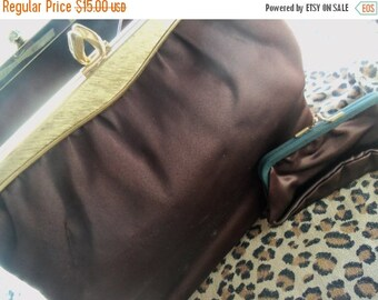 Now On Sale Vintage Brown Satin Purse with Coin Purse 1960's Handbag Twifaille by Rosenfeld