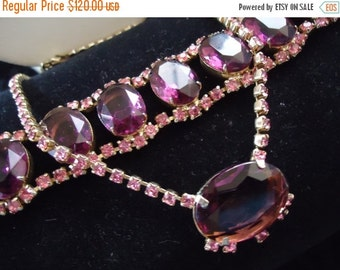 Now On Sale Vintage Pink Purple Rhinestone Necklace Bracelet Set Demi Parure 1950's Collectible Retro Rockabilly Old Hollywood Regency Glam