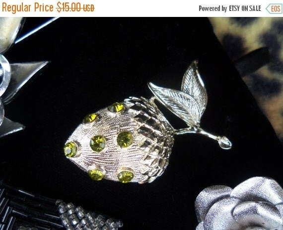 Now On Sale Cute Little Vintage Green Rhinestone Acorn Brooch Figural Pin Mint Condition Free US Shipping