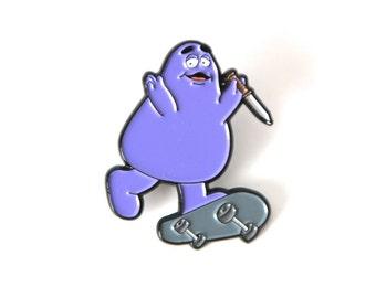 EVIL GRIMACE punk ENAMEL pin purple skateboarding buddy guy