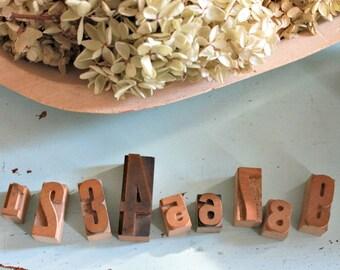 vintage letterpress numbers wood