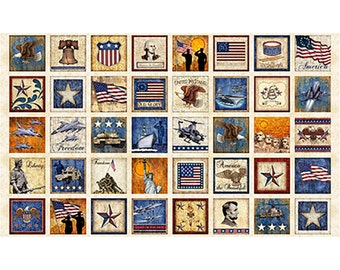 HOME of The BRAVE Fabric Panel Quilting Treasures- SQUARES on parchment  tan cotton  23 by 44 in~patriotic americana old glory