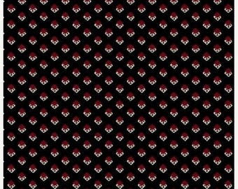 15% off thru May1st SYLVIE  small red  white diamonds on black cotton print by the yard  Windham Cotton Fabric 42238-2