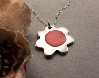 Flower Power Colored Resin Sterling Silver Pendant Handmade Fashion Jewelry for Women