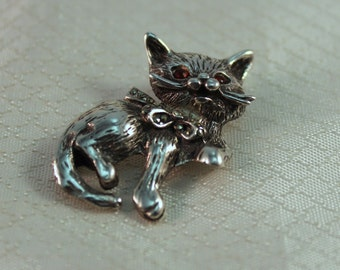 Sweet Sterling Kitten Brooch, Sterling Cat Pin