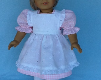 18 inch doll dress and pinafore .  Fits American Girl Dolls. Pink gingham checks and white eyelet embroidery.