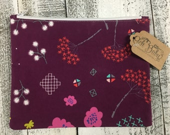 Plum Floral Zip Bag