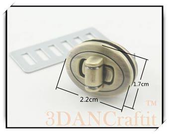 Purse Twist lock turn lock  Light Gold / gunmetal / nickel / Anti bronze 2.2cm x 1.7cm   4 color to choose