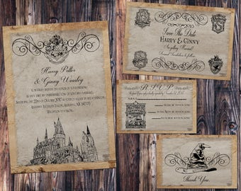 Hogwarts Parchment Wedding Invitation, Save The Date, RSVP, And Thank You  Digital File