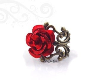 Red Rose Ring - Beauty and the Beast Rose Ring - Enchanted Rose Jewelry - Vintage Brass Filigree Valentine Ring Fairy Tale Jewelry