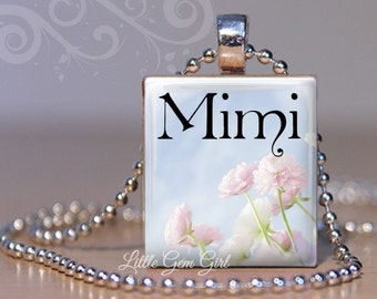 Mimi Necklace for Mothers Day - Pastel Flower Mimi Scrabble Tile Wood Pendant - Mimi Jewelry Charm