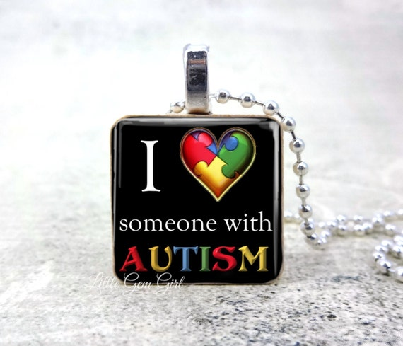 Autism Support Necklace I Love someone with Autism Awareness Puzzle Heart 1 inch Wood Pendant