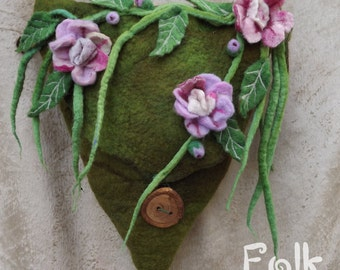 Spring Flowers Felted Purse- Faerie bag-Flower Fairy felt Bag -Felted Fairy Bag - messenger Bag - Shoulder bag-green bag- wedding accessory