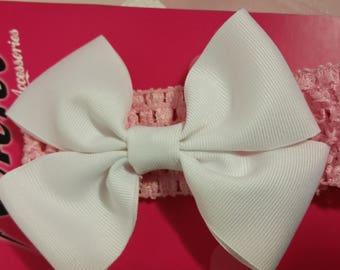 Pink Crochet Headband with White Bow, Crochet Headband, White Bow, Baby Headband, Baby, Girls, Baby Headbands, Girls Headbands, Simple Bow