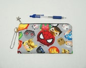 "Padded Zipper Pouch / Pencil Case / Cosmetic Bag Made with Cotton Oxford Fabric ""Marvel Tsum Tsum - Faces"""