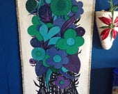 Funky flower peacock colours 1960s wall hanging