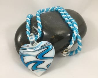 Glass Heart Necklace, Beaded Jewelry, Heart Pendant Necklace, Glass Seed Beads, Spiral Rope Necklace, Women's Jewelry, One of a Kind Gift