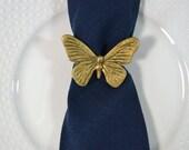 Vintage Brass Butterfly Napkin Rings Butterfly Napkin Rings - Set of 8 Butterfly Napkin Holders Butterfly Decor
