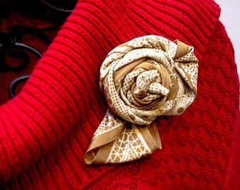 Silk Flower Brooch, Eco Chic Classy Corsage, Lapel Pin, Christmas Holiday Textile Fiber Art Jewelry itsyourcountry