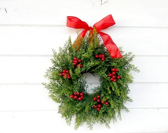 MINI Window Wreath-CEDAR Wreath-Farmhouse Wreath-Artifical CEDAR Wreath-Wall Hanging-Small Wreath-Custom Made Gifts-Scented Wreath-Gifts