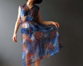 70s Cobalt Blue Floral Sheer Day Dress Small