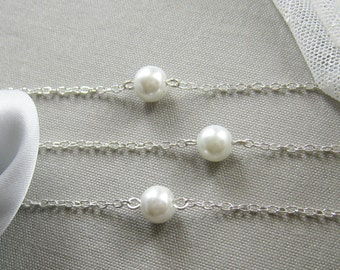 SET of 6 simple pearl bridesmaid bracelet, bridesmaids gift wedding gifts bridal wedding party jewelry - BR002