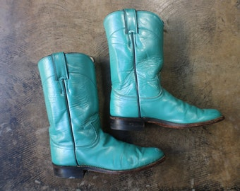 6 B / Turquoise Cowboy BOOTS / Vintage Justin Women's Boots / Ropers