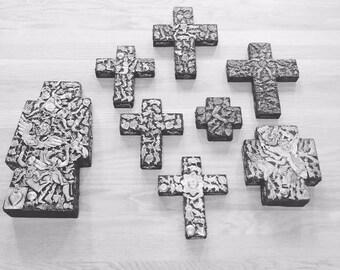 8 Estela OGAZON Mid Century Milagros Wood Cross Collection - extremely rare