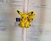 Felt Pikachu on Alligator Clip - Pokemon Clip - Embroidered Felt - Hair Clip