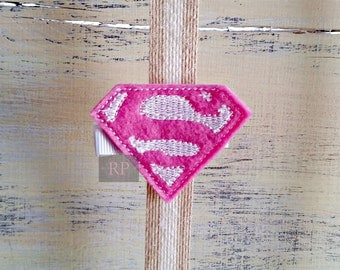 Felt Pink Supergirl on Alligator Clip - DC Comics Cosplay ComicCon Clip - Embroidered Felt - Hair Clip