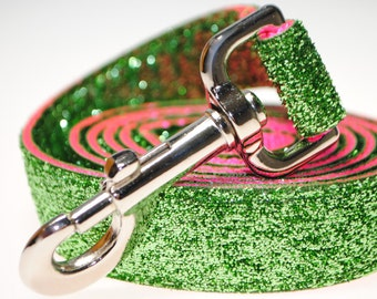 "Lime Glitter on Hot Pink 1"" Width  Leash"