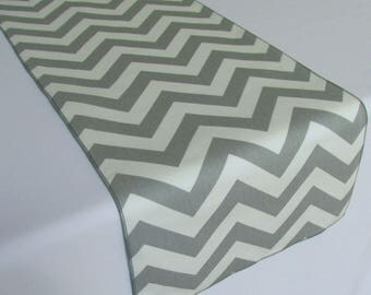 """Grey and White Chevron table runner Size 10"""" x 84"""" - ON SALE - Ready To Ship"""