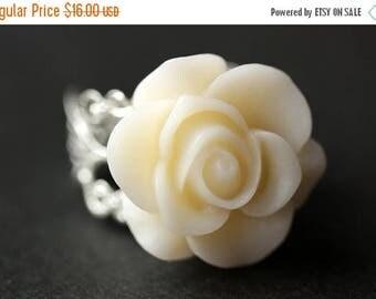 MOTHERS DAY SALE White Rose Ring. Eggshell White Flower Ring. Gold Ring. Silver Ring. Bronze Ring. Copper Ring. Adjustable Ring. Handmade Je