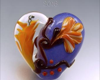 CORAL & ORANGE Heart Glass Bead Lampwork Pendant Focal Handmade Jewelry Supplies - by Stephanie Gough sra fhfteam leteam