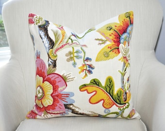 Braemore Wonderland Pearl Vibrant Floral Pillow Cover -- Pink / Red / Yellow / Green / Blue -- Zipper Closure