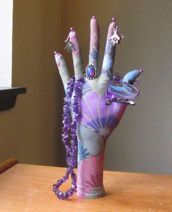 "RESERVED for BLISS ~ ""Thousand Flowers"" Fabric HAND-Stand ~ Jewelry Display ~ Ready to Ship"