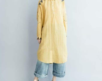 Spring and autumn wear loose fitting Asymmetrical dress Cotton and linen Long Shirt in yellow