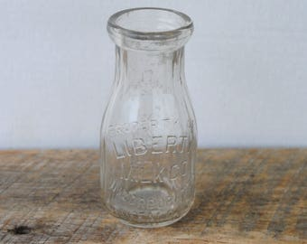 Vintage Liberty Milk Company Half Pint Glass Bottle Buffalo New York