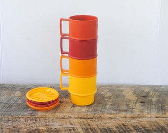 Vintage Tupperware Stackable Coffee Cups with Lids