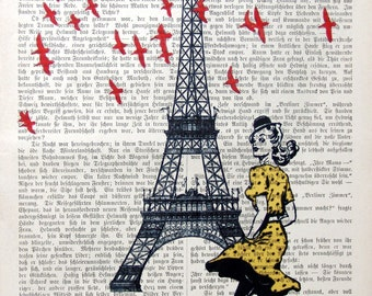 SPRING art print poster illustration eiffel tower paris giclee print painting france birds