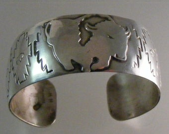 SALE...Was 274.75... Now 219.75...Vintage Signed Native American Buffalo Cuff Bracelet in Sterling Silver ...   Lot 4905
