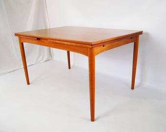 SALE: Danish Modern Teak Dining Table with Draw-Leaf Extensions Made in Denmark